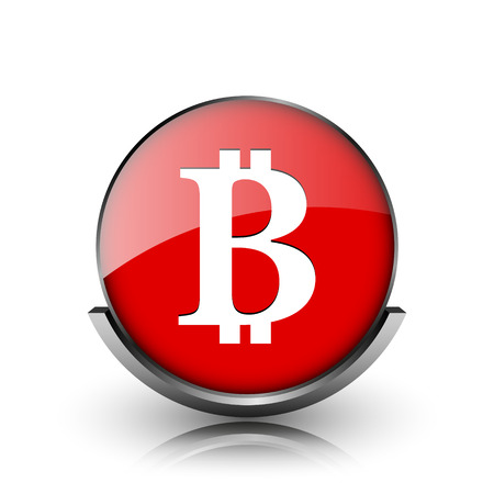 p2p: Red shiny glossy icon on white background Stock Photo