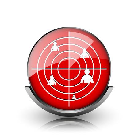 Red shiny glossy icon on white background photo
