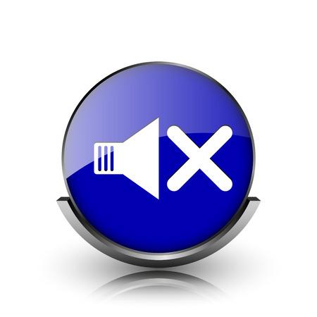 Blue shiny glossy icon on white background photo