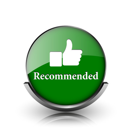 recommendations: Green shiny glossy icon on white background Stock Photo