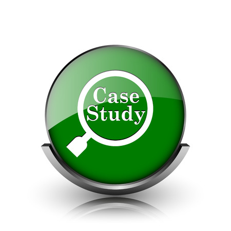 case study: Green shiny glossy icon on white background Stock Photo