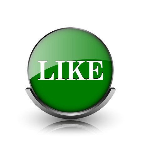 Green shiny glossy icon on white background photo