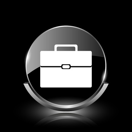 Shiny glossy glass icon on black background photo