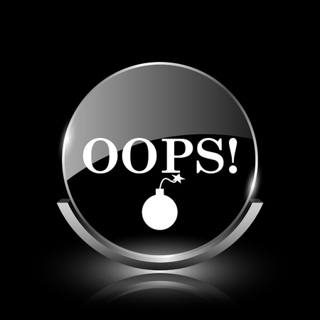 blunder: Shiny glossy glass icon on black background