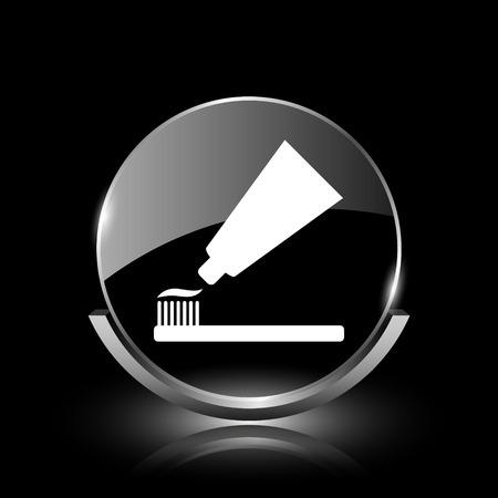 Glanzende glossy glas pictogram op zwarte achtergrond