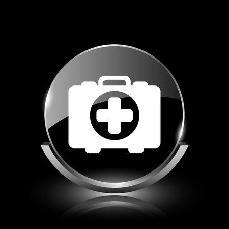 first aid kit key: Shiny glossy glass icon on black background