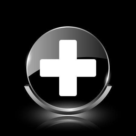 Brillante icono de cristal brillante sobre fondo negro photo