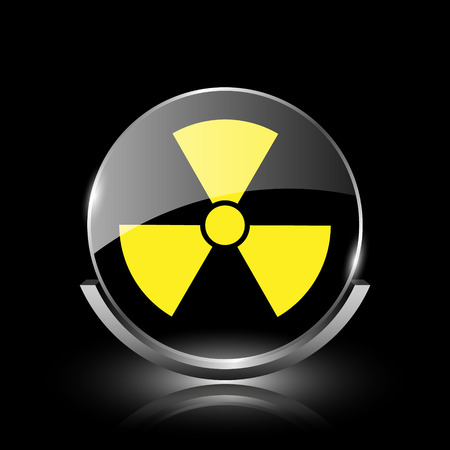nuclear fusion: Shiny glossy glass icon on black background