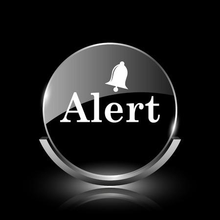 alert ribbon: Shiny glossy glass icon on black background