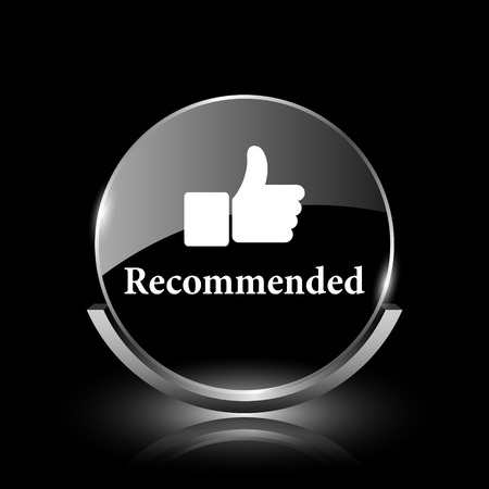 Shiny glossy glass icon on black background photo