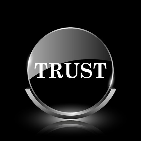 trusted: Shiny glossy glass icon on black background