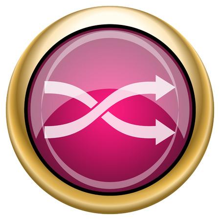 shuffle: Magenta and gold shiny icon on white background Stock Photo
