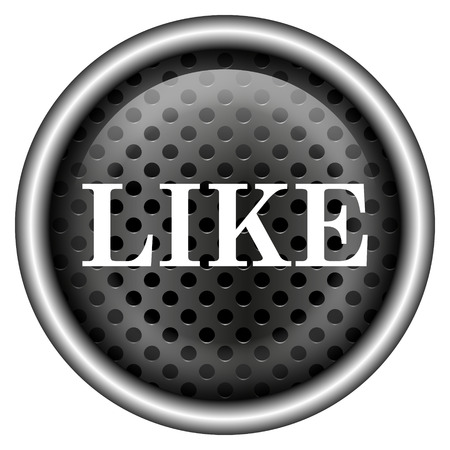 Metallic black glossy icon on white background photo