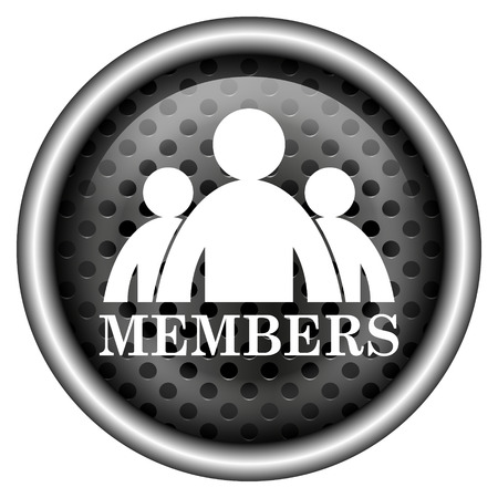 join here: Metallic black glossy icon on white background