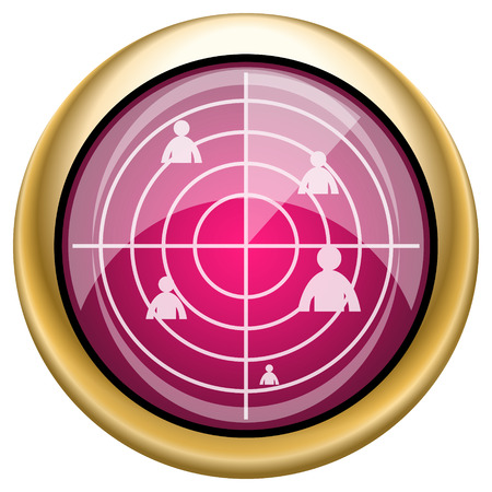 Magenta and gold shiny icon on white background photo
