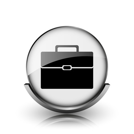 Briefcase icon. Shiny glossy internet button on white background.  photo