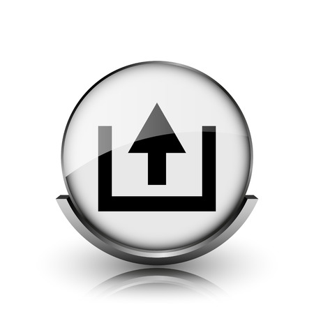 Upload icon. Shiny glossy internet button on white background.  photo