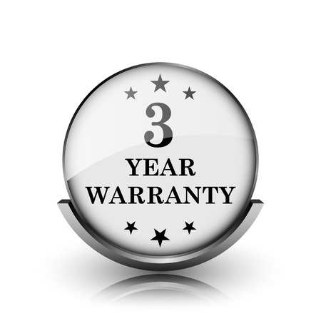 3 year warranty icon. Shiny glossy internet button on white background.  photo
