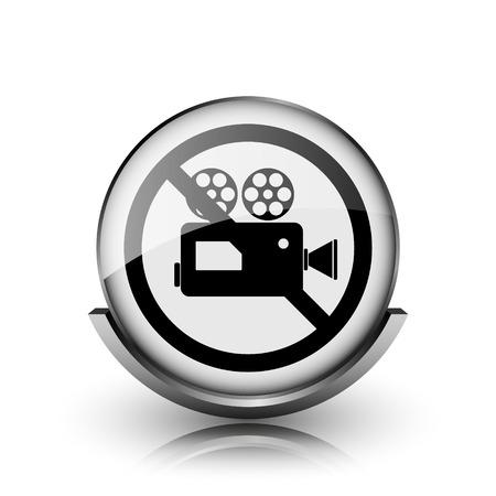 Forbidden video camera icon. Shiny glossy internet button on white background.   photo