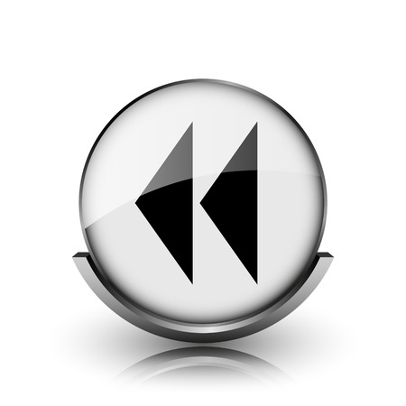 Rewind icon. Shiny glossy internet button on white background.   photo