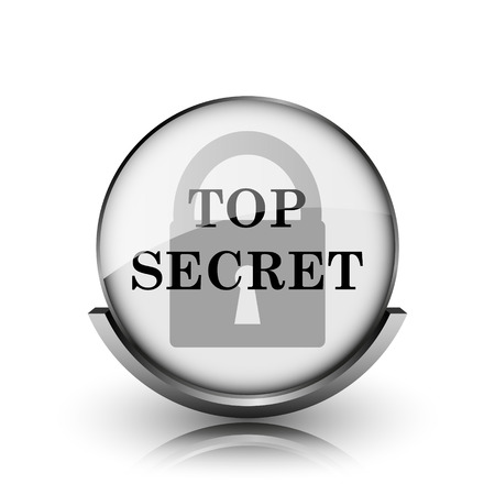Top secret icon. Shiny glossy internet button on white background.  photo