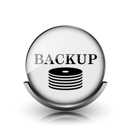 data archiving: Back-up icon. Shiny glossy internet button on white background.  Stock Photo