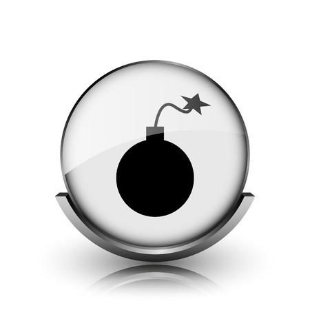 Bomb icon. Shiny glossy internet button on white background.  photo