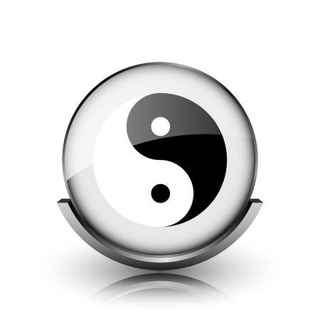 Ying yang icon. Shiny glossy internet button on white background.  photo