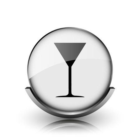 Martini glass icon. Shiny glossy internet button on white background.  photo