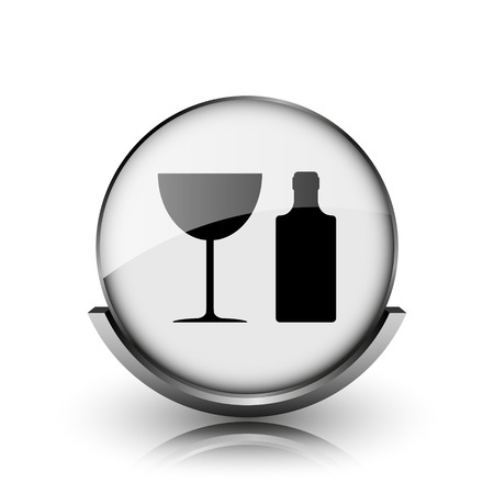 Bottle and glass icon. Shiny glossy internet button on white background.  Stock Photo