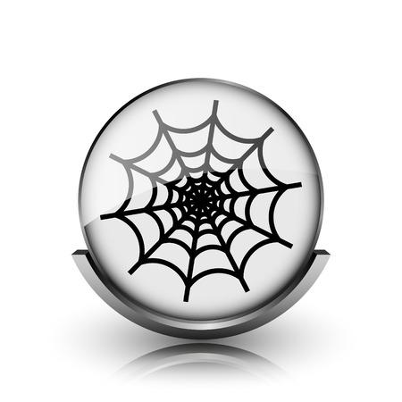 Spider web icon. Shiny glossy internet button on white background.  photo