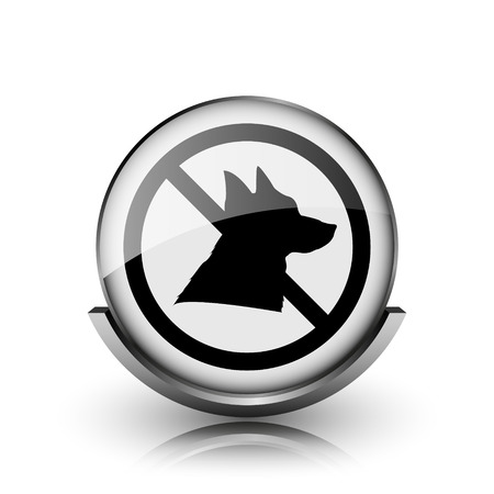 Forbidden dogs icon. Shiny glossy internet button on white background.  photo