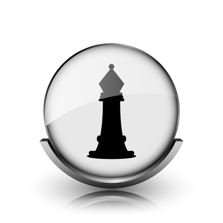 Chess icon. Shiny glossy internet button on white background.  photo