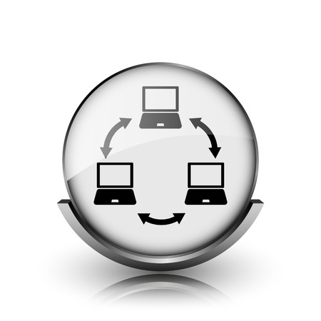 Computer network icon. Shiny glossy internet button on white background.  photo