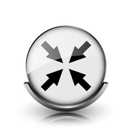 Exit full screen icon. Shiny glossy internet button on white background.  photo