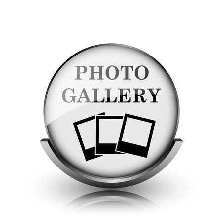 Photo gallery icon. Shiny glossy internet button on white background.  photo