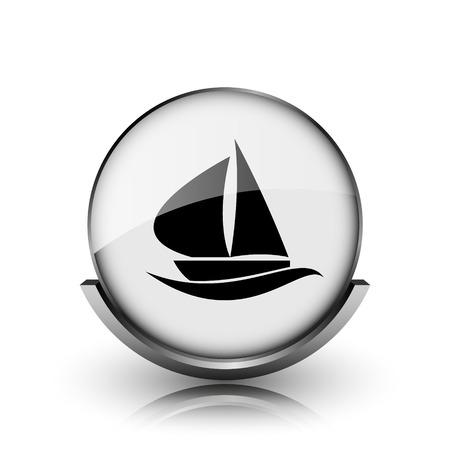 Sailboat icon. Shiny glossy internet button on white background.  photo