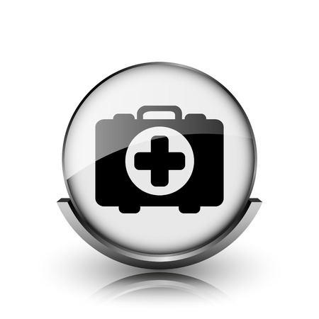first aid kit key: Medical bag icon. Shiny glossy internet button on white background.