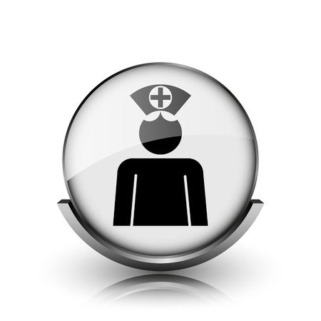 clinical staff: Nurse icon. Shiny glossy internet button on white background.