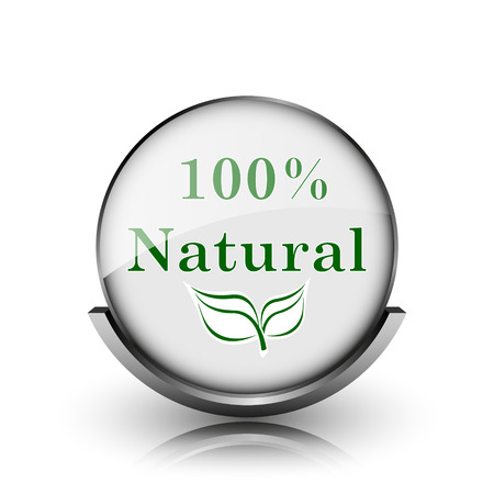 100 percent natural icon. Shiny glossy internet button on white background.  photo