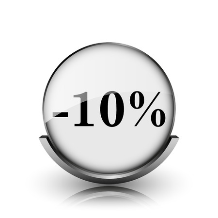 10 percent discount icon. Shiny glossy internet button on white background.  photo
