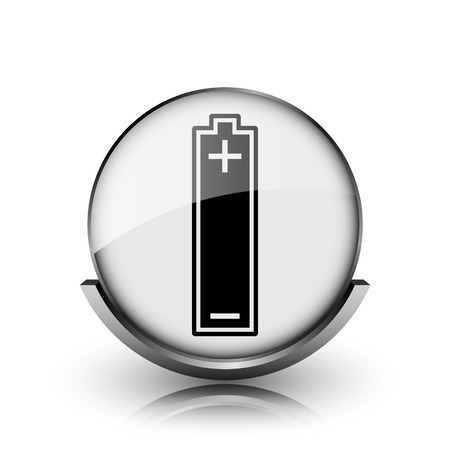 Battery icon. Shiny glossy internet button on white background.  photo
