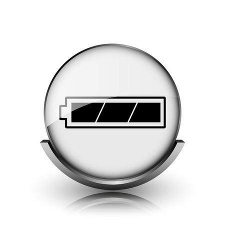 Fully charged battery icon. Shiny glossy internet button on white background.  photo