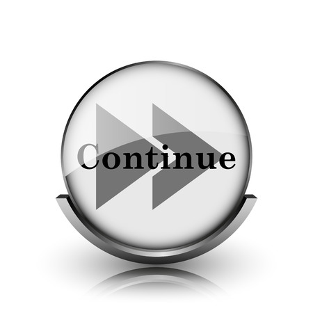 Continue icon. Shiny glossy internet button on white background.  photo