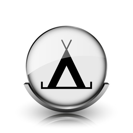 3d bungalow: Tent icon. Shiny glossy internet button on white background.