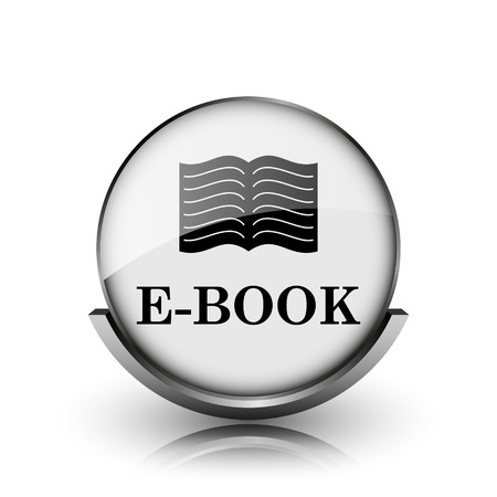 audiobook: E-book icon. Shiny glossy internet button on white background.