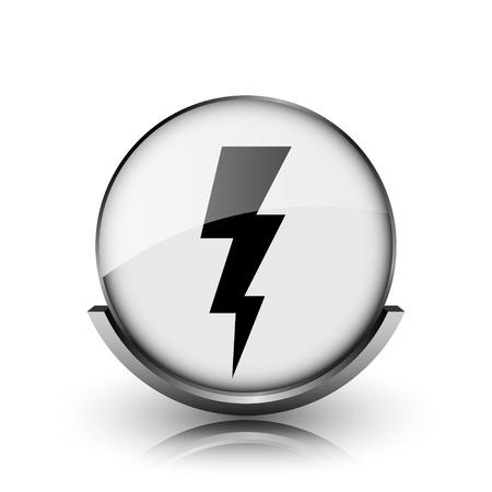 Lightning icon. Shiny glossy internet button on white background.  photo