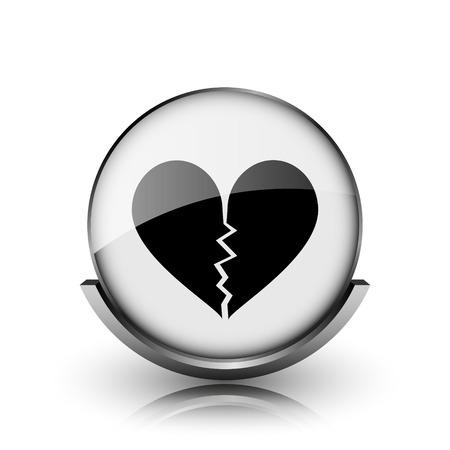 Broken heart icon. Shiny glossy internet button on white background.  photo