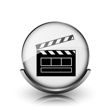 Movie icon. Shiny glossy internet button on white background.  photo