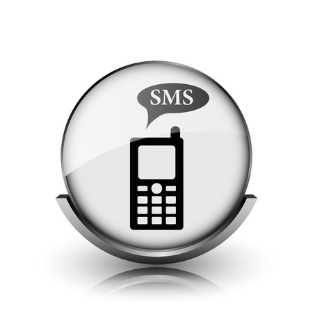 SMS icon. Shiny glossy internet button on white background.  photo